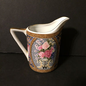 Other - Vintage Floral Golden Trim Mini Pitcher